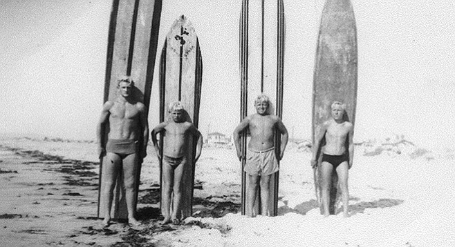 From left: John Cole, Mouse (with the shortest surfboard), Buddy Lewis, Sonny Maggiora, 1944