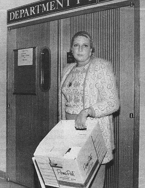 Betty with court papers