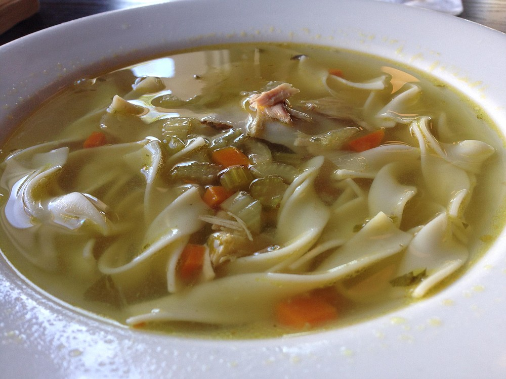 Chicken noodle soup — there's a kreplach in there somewhere