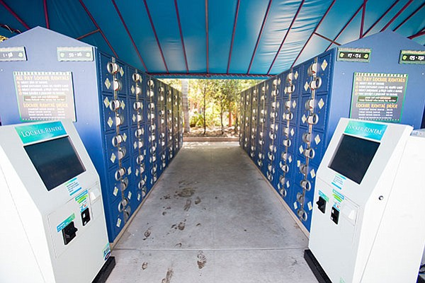 Lockers cost $12 for one roughly the size of a children's shoebox, $15 for an 8-by-11-inch, and $25 for one large enough to cram in a backpack.
