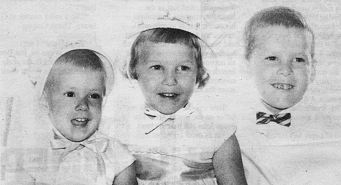 Lori, age 3; Cynthia, age 4; Mark, age 5. The three Maine children — Mark, Cindy, and Lori — grew up in Clairemont. Their father was a policeman — a motorcycle cop.
