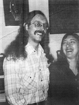 """Rodger with Marianne Lachman, November 1983. He was sitting in his car in the drive-through line at the Jack-In-The-Box at 24th and Market streets when, according to the police report of the incident, a man came up to his car and asked, """"Who you gonna vote for?"""""""