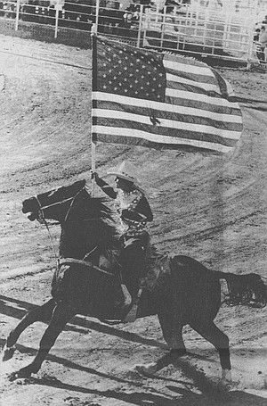 Rider brining in the flag
