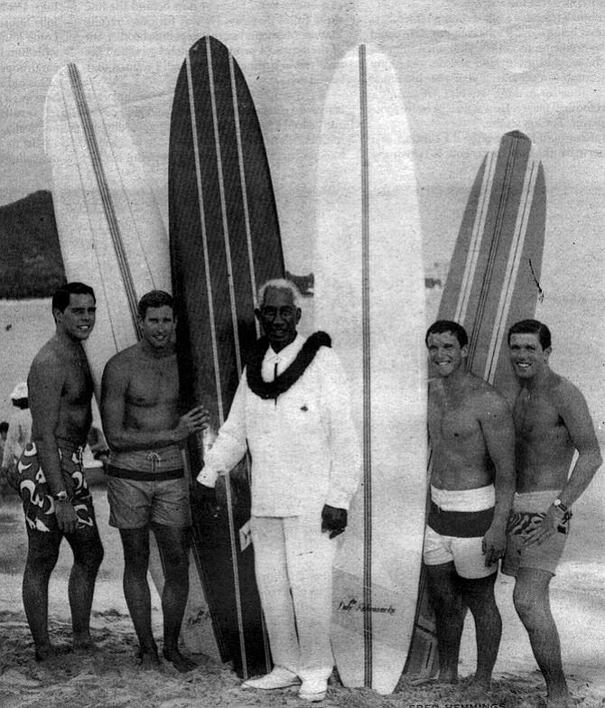 Grandfather of surfing Duke Kahanamoku and his surf team, c. mid-'60s; Van Artsdalen on far right
