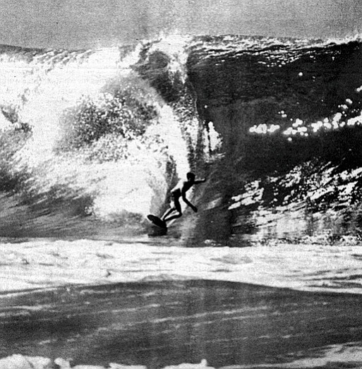 Van Artsdalen at Pipeline, c. 1965. He became one of the first persons to conquer Oahu's Banzai Pipeline, now the world's most photographed wave.