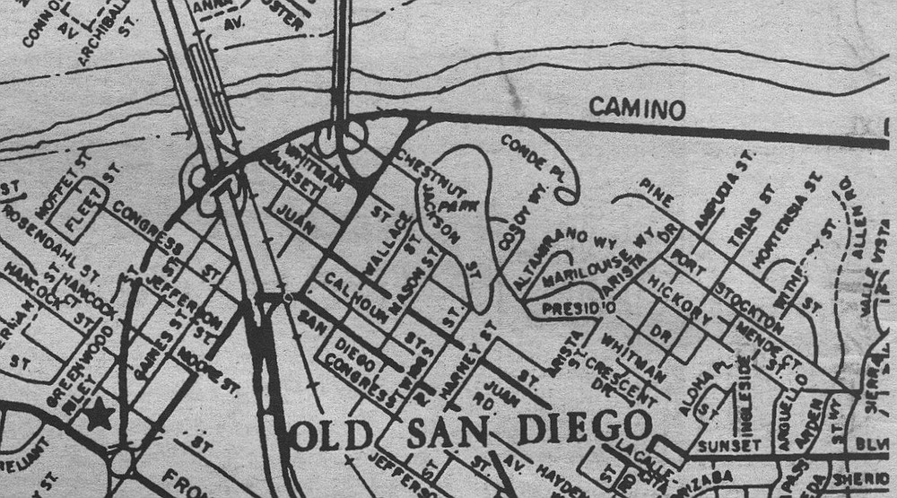1957 map, showing Chestnut Street when it was two blocks long