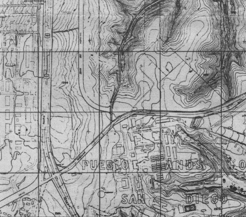 1960 topographical map used by San Diego city engineers. Note the Camp Matthews buildings at right center, the traffic island at the crossroads, and the narrow canyon road (Sorrento Road) running northeast form the center. The main road to the right is the original Miramar Road, and the road entering from the left is La Jolla Shores Drive. The north-south road is of course US 101.