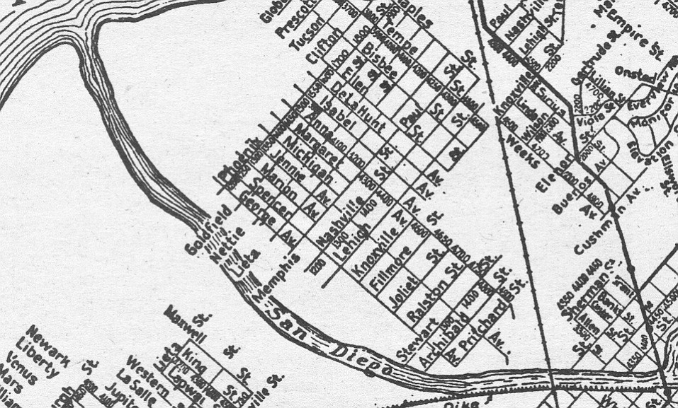 Fillmore and other national streets, on a 1925 Rodney Stokes map