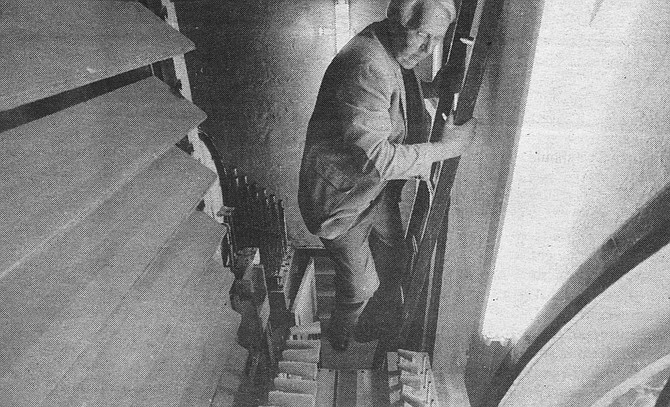 Lyle Blackinton inside Spreckels Organ. Blackinton, has voiced more pipes in San Diego than he says he can remember.