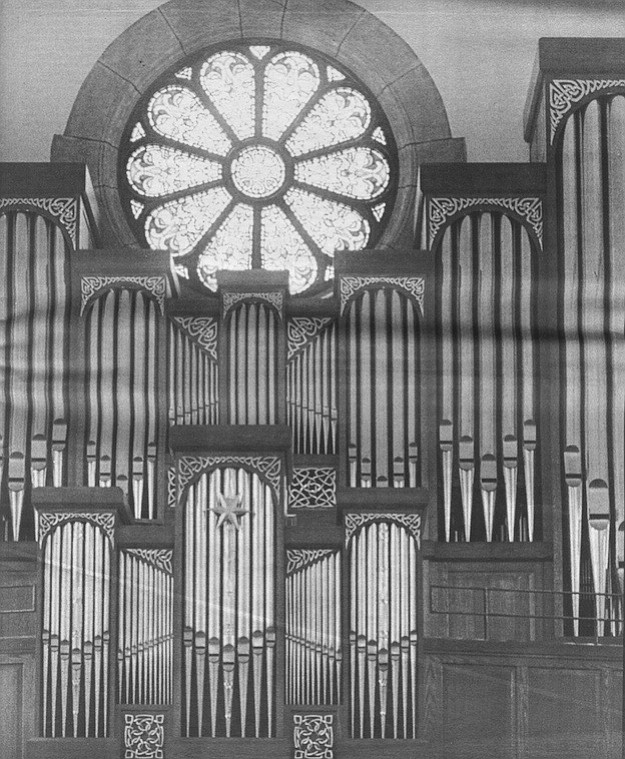St. Brigid's organ is better revealed in its new situation, now that the church has been stripped of its residential carpeting and its tacky vinyl floor tiles.