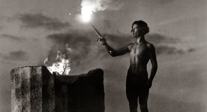 The lighting of the Olympic Flame, Berlin, 1936, as seen in Leni Riefenstahl's propaganda doc, Olympia.
