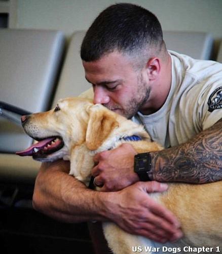 Retired War Dog TTaylor with her adopter (and former handler) Tom H.