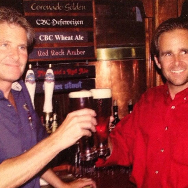 An early photo of Ron and Rick Chapman celebrating the second anniversary of their business, Coronado Brewing Company.
