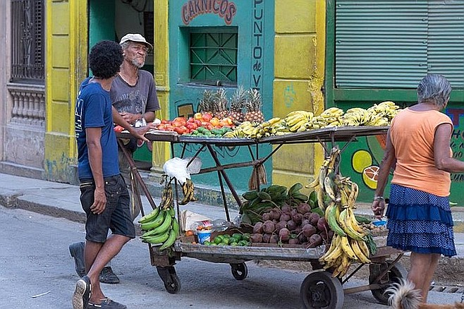 Fruit vendor in the streets.