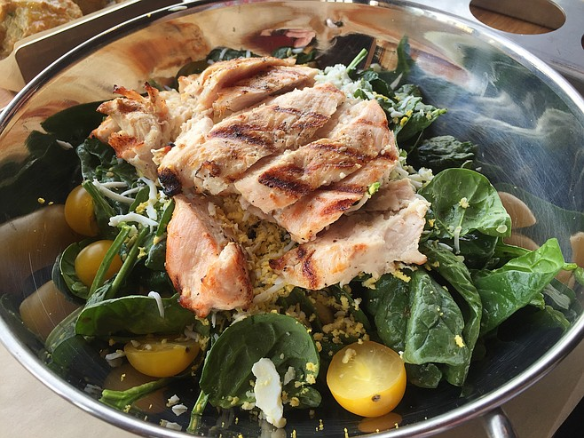 Spinach & Bacon Salad with added chicken