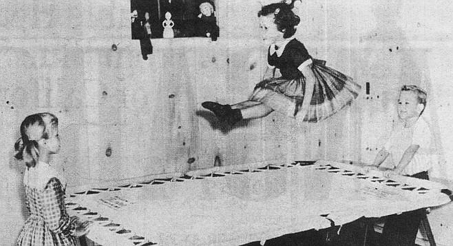 Dagmar Nissen on trampoline, from a 1960s promotional brochure