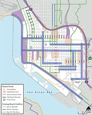 """Bicycle needs"" in Downtown San Diego Mobility Plan — the thick blue lines indicate ""high bicycle demands."""