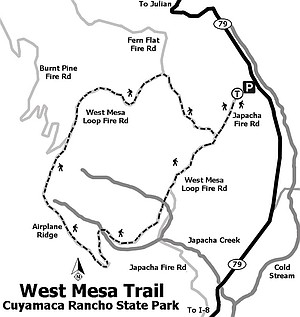 West Mesa Trail Map, Cuyamaca Rancho State Park