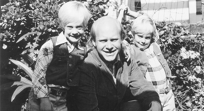 """The author with his kids, Encinitas, 1983. """"Remember the ocean, where you guys made sand castles and the shorebirds we fed and the zoo and the killer whales at Se World, remember?"""""""