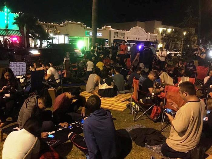 A typical recent night on the Orange Avenue median in Coronado