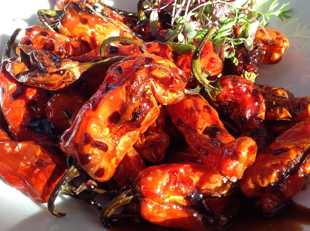 Shishito peppers: secret's in the porcini balsamic glaze