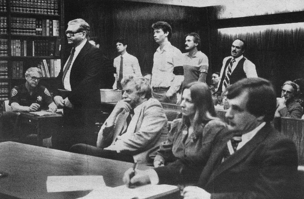 Reverend Owens appearing in the contempt trial between the Birth Control Institute and Owens, January, 1985
