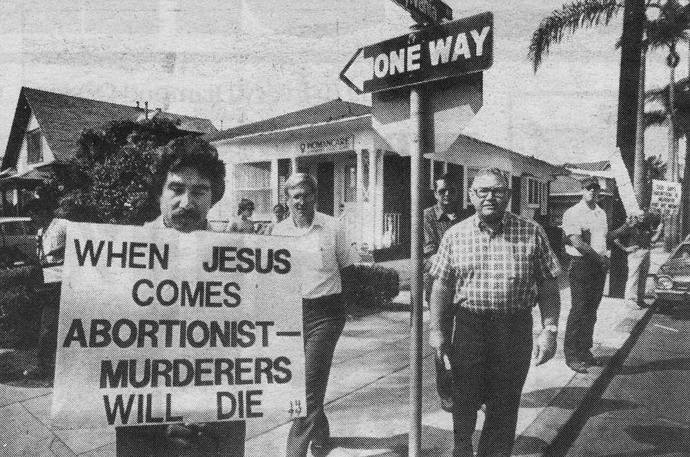 Reverend Owens and other Fellowship members picketing Womancare in September, 1984