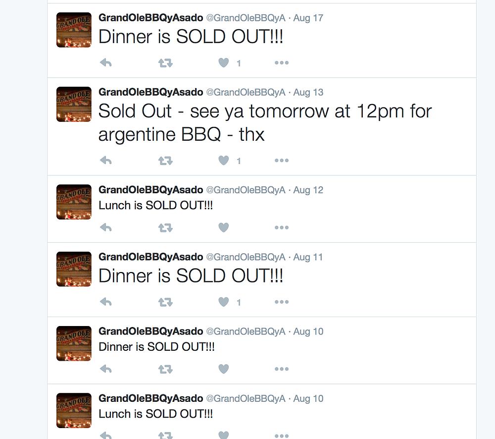 Screenshot of Grand Ole BBQ's Twitter feed