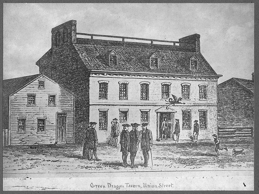 Sketch of the original Green Dragon Tavern in Boston
