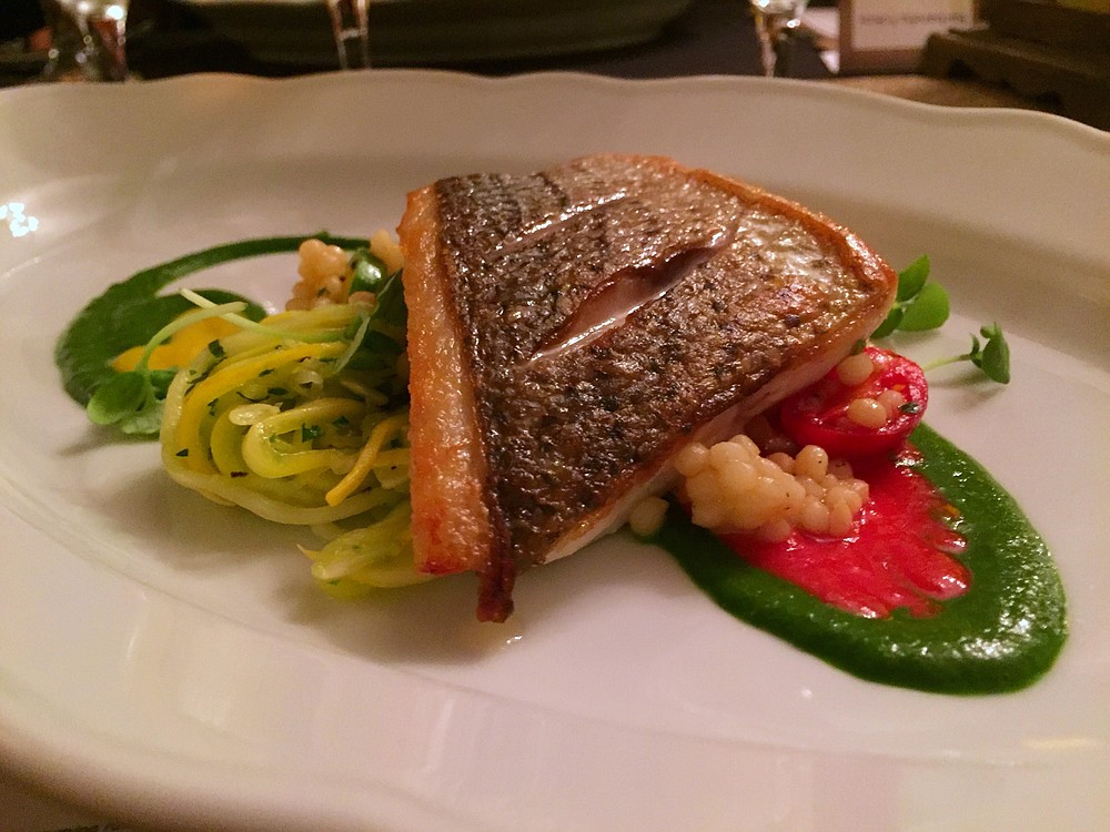Striped sea bass with tomato and basil sauces, plus Israeli couscous