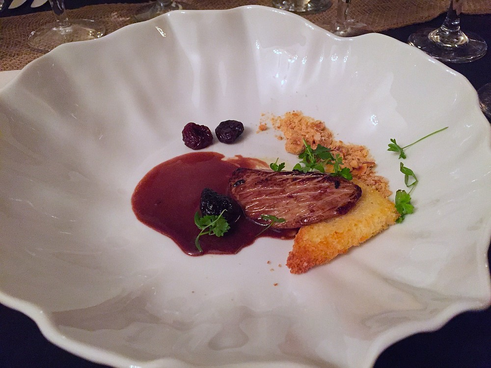 Seared foie gras with rich and savory cherry cabernet reduction