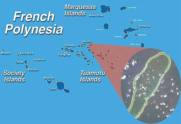 Takapoto Atoll (right): Where Schooler's boat was found run aground