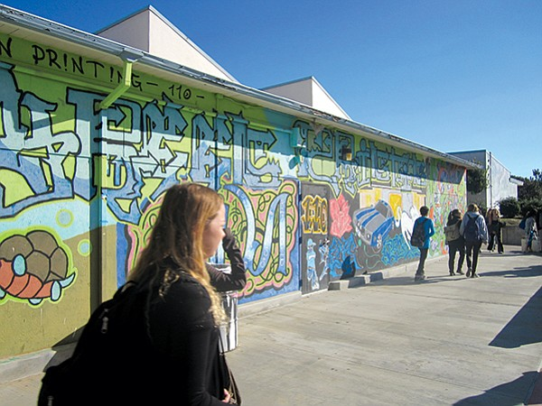 Student art on San Dieguito Academy's campus.