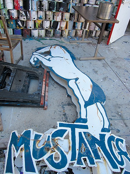 The school recently rehabbed a metal Mustang sculpture that was made by San Dieguito students in the '70s.
