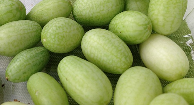 Mexican sour gherkins sold at Hillcrest farmers' market by Good Taste Farms.