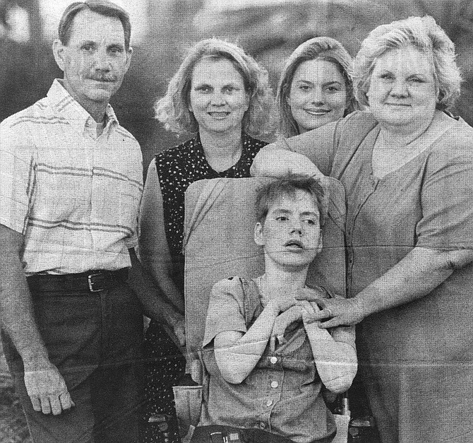 Billye Giesecke (far right) with her family at Friendship Manor - Image by Sandy Huffaker, Jr.