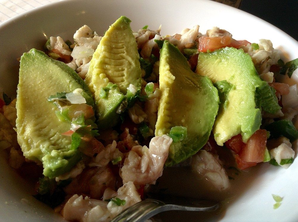 Ceviche, with avocado toppings