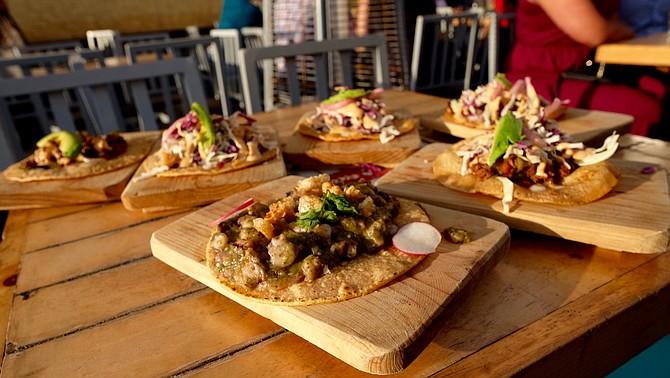 Array of seafood tacos from Alga Bien