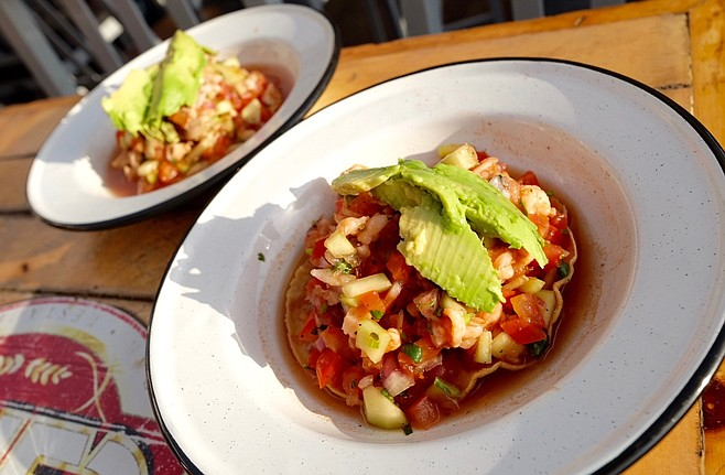 The traditional fish and shrimp ceviches, 2x1 on Mondays.