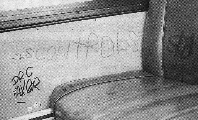 """""""San Diego Transit spends $30,000 to $35,000 a month just cleaning up graffiti at bus stops and on our seats and etched into our windows."""""""