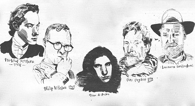 Illustration of Michael McClure, Philip Whalen, Diane DiPrima, Gary Snyder, and Lawrence Ferlinghetti