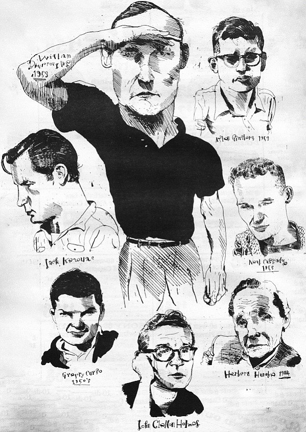 Illustration of William Burroughs, Jack Kerouac, Gregory Corso, John Clellon Holmes, Allen Ginsberg, Neal Cassady, and Herbert Huncke