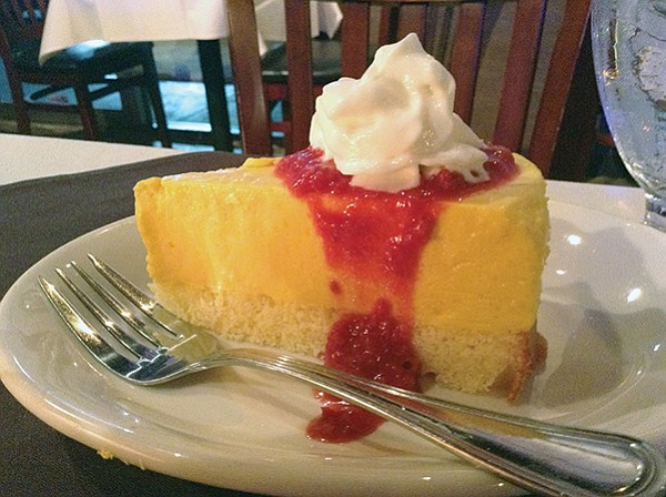 Cheesecake: the mango sauce makes it