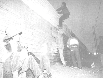 Fence jumping on Mexican side