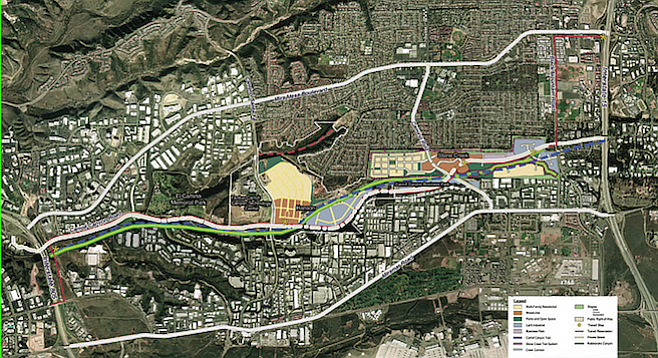 Carroll Canyon Road (gray line next to the green) will extend from I-805 to I-15.