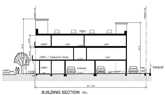 The fraternity plans for 13 parking spaces onsite.