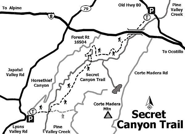Secret Canyon trail map