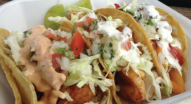 Tacos El Rorro's fish, grilled shrimp, and gobernador tacos