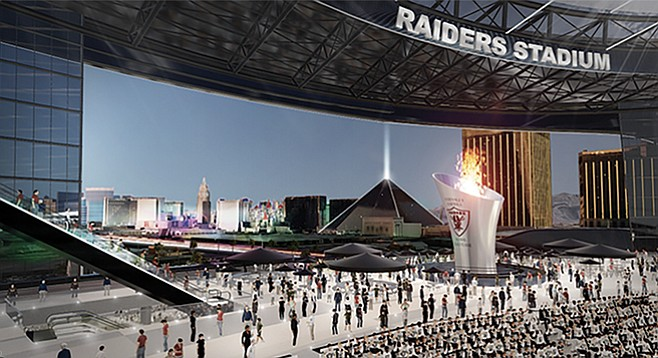 "Al Davis's ""eternal flame"" planned for the stadium the Raiders intend to build in Las Vegas"