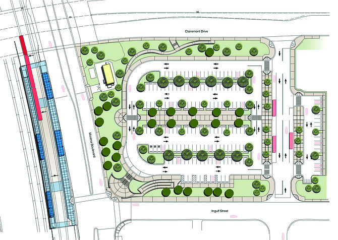 A 158-space surface parking lot, a new off-street bus stop, and a power substation will be located on the now vacant Clairemont Drive lot (Sandag 2015)